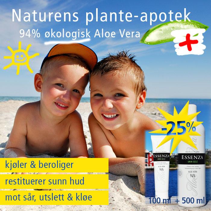 Essenza Aloe Vera UNIK GELE på solbrent hud, sår, utslett, kløe og tørr hud